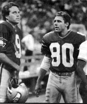 Steve Largent and Norm Johnson, scanned from Inside the Seahawks, 1986